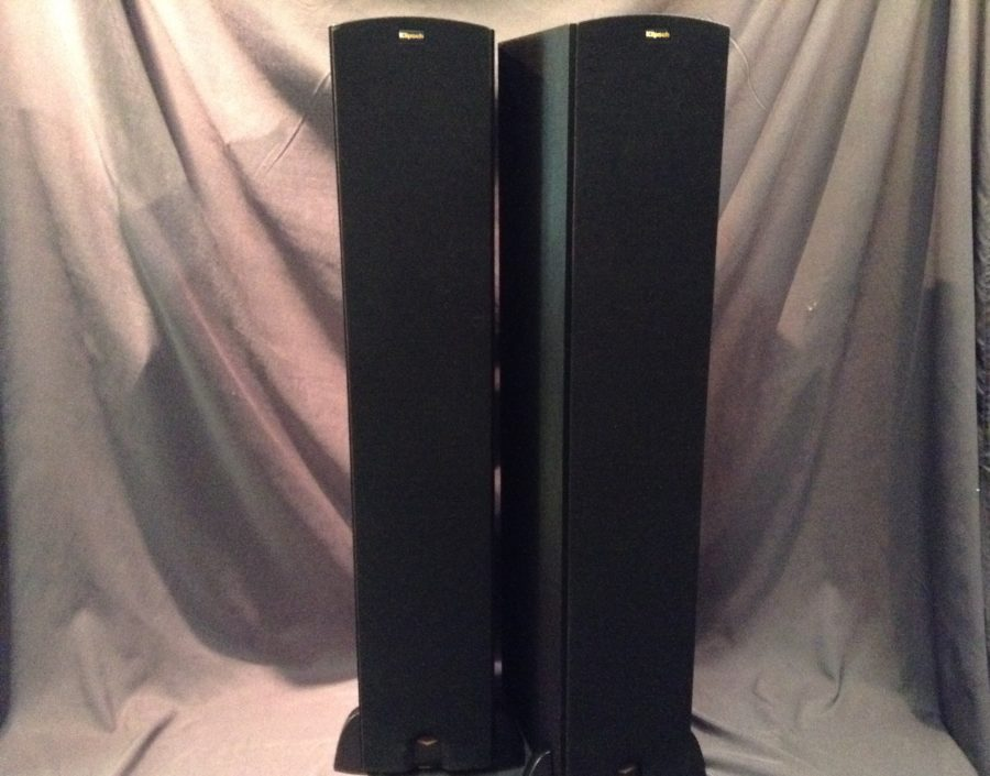 two tall speakers